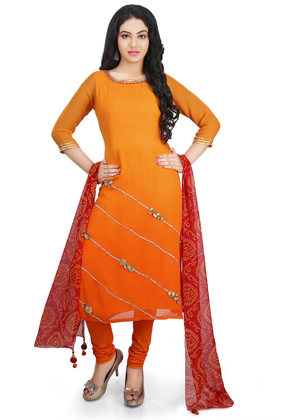 Embroidered Georgette Straight Cut Suit in Ombre Orange