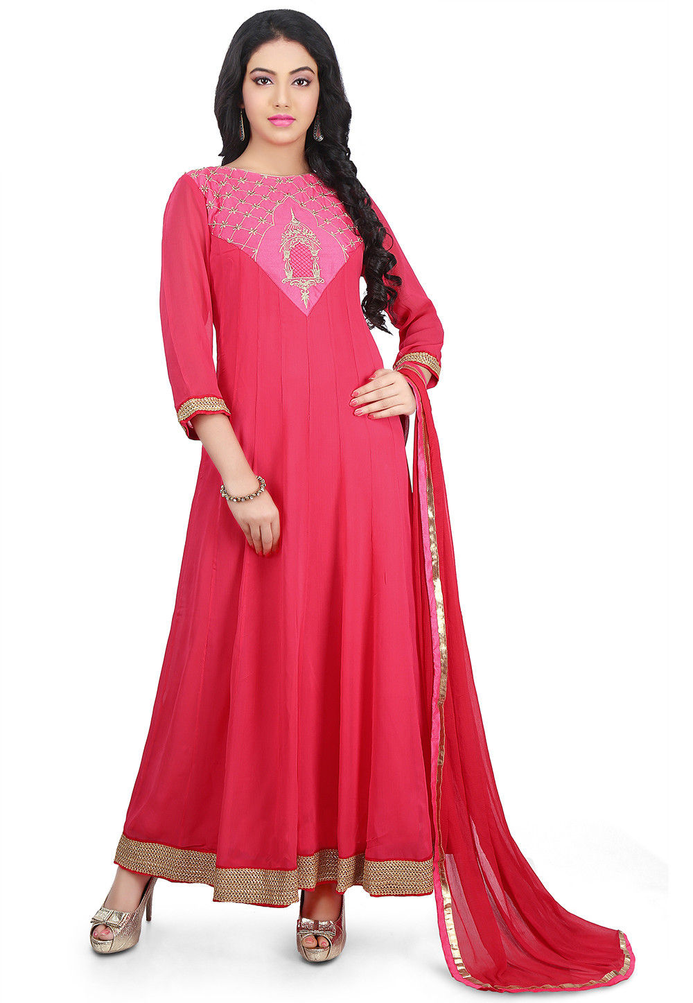 Embroidered Georgette Abaya Style Suit in Coral