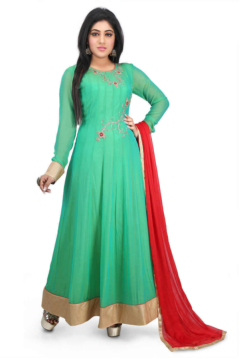 Hand Embroidered Georgette Abaya Style Suit in Teal Green