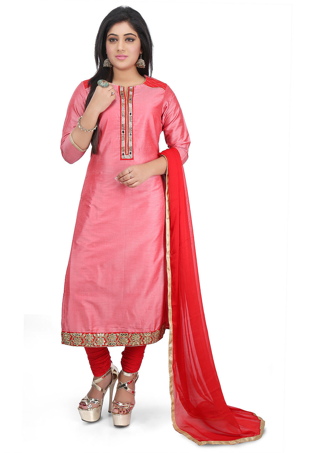 Plain Cotton Silk Straight Suit in Pink