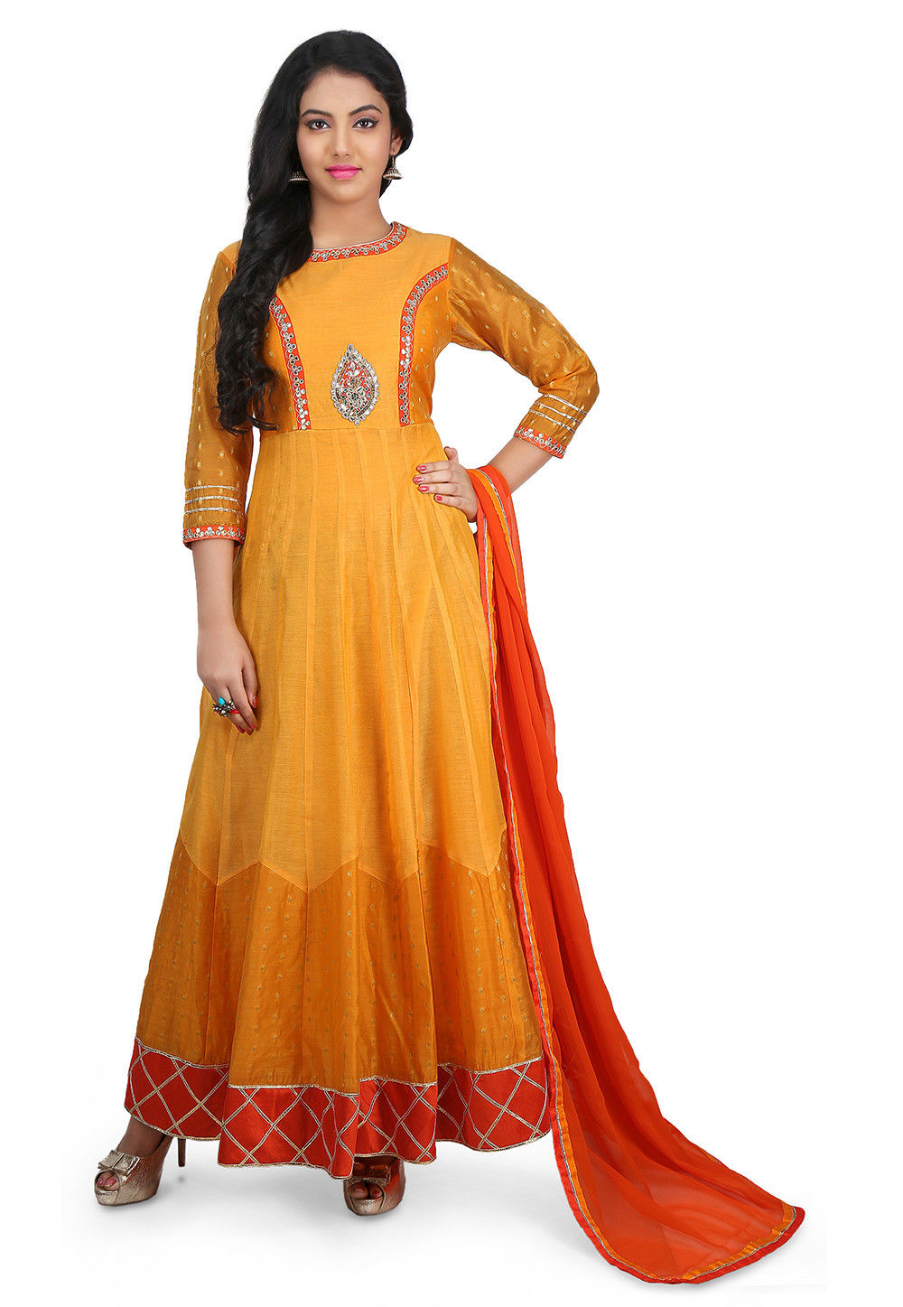 Hand Embroidered Chanderi Cotton Abaya Style Suit in Mustard
