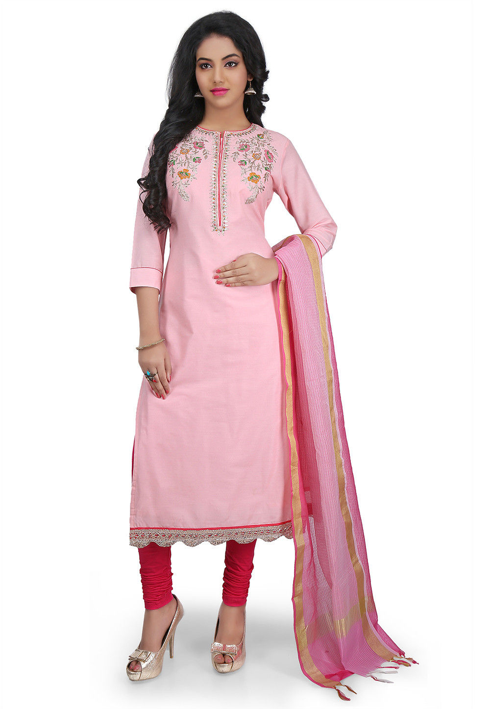 Hand Embroidered Cotton Silk Straight Suit in Light Pink