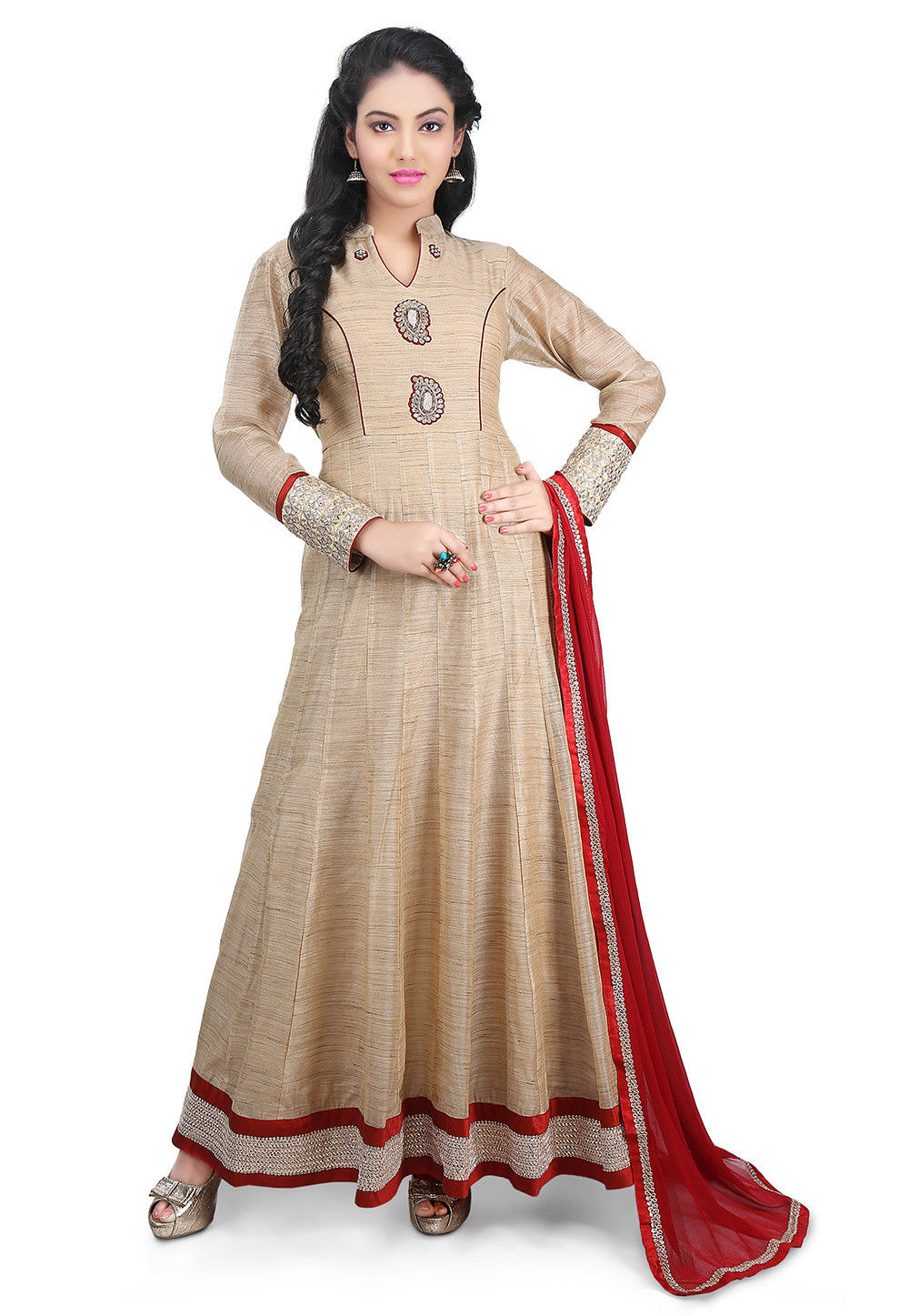 Plain Chanderi Cotton Abaya Style Suit in Dark Beige
