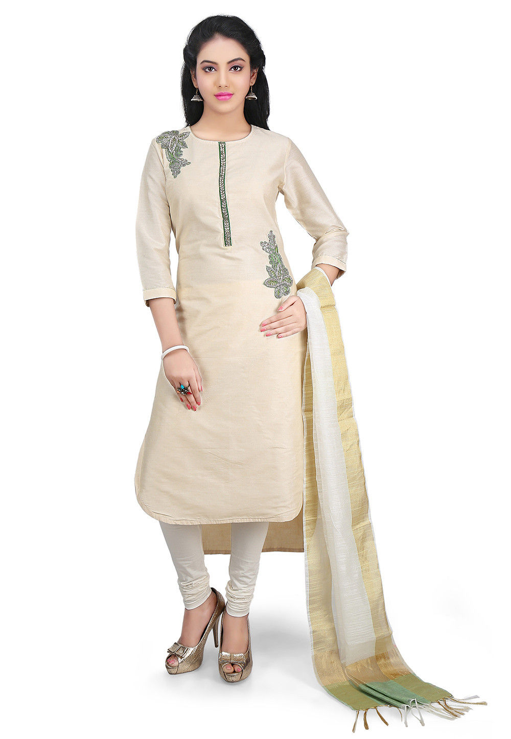 Hand Embroidered Cotton Silk Straight Suit in Off white