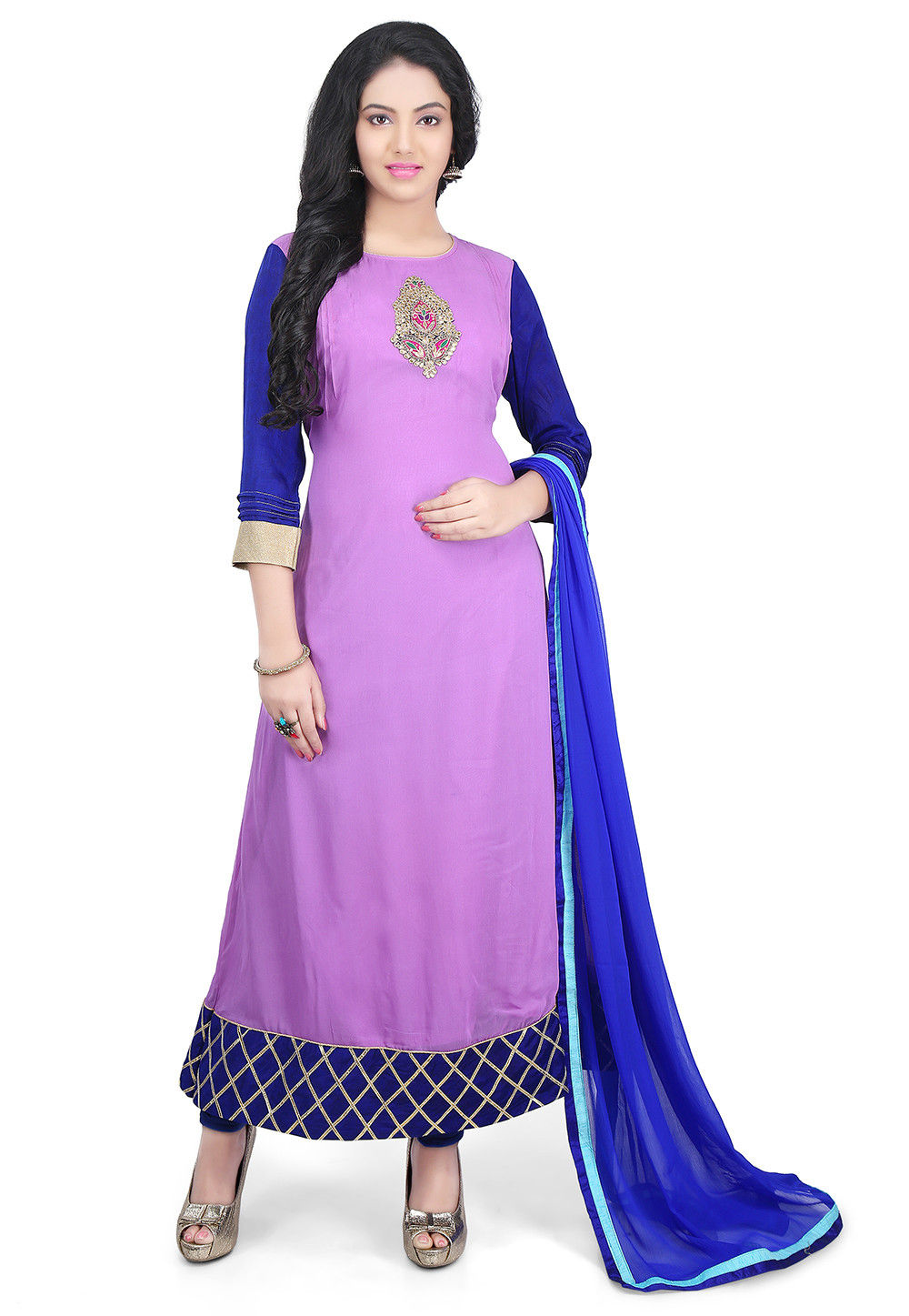 Plain Georgette A Line Suit in Purple
