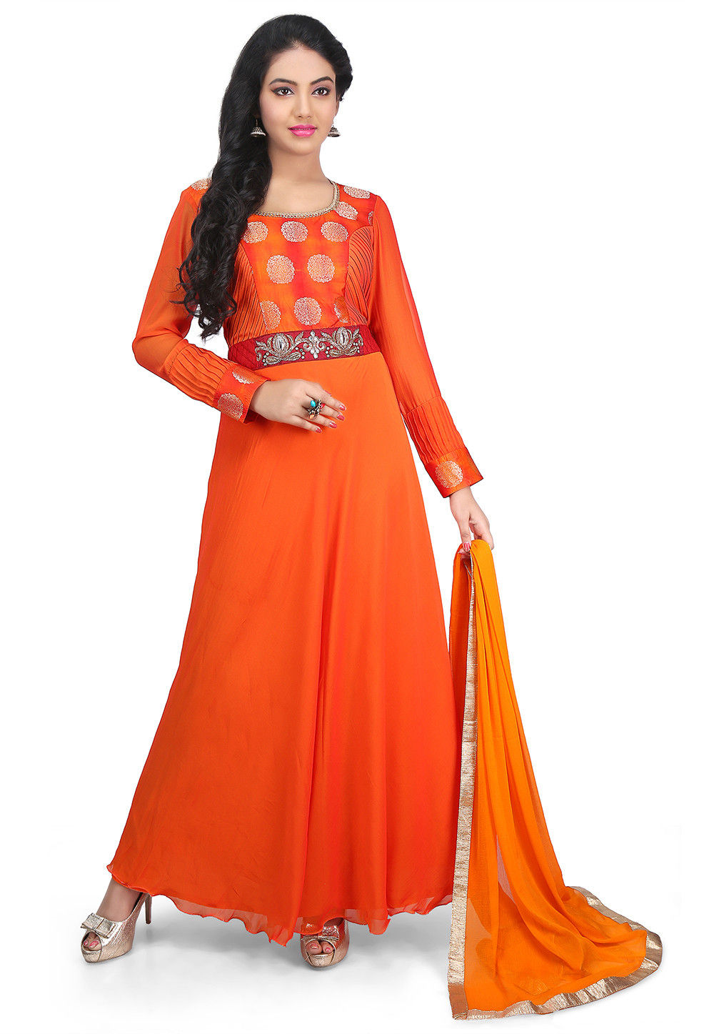 Plain Georgette Flared Suit in Orange Ombre