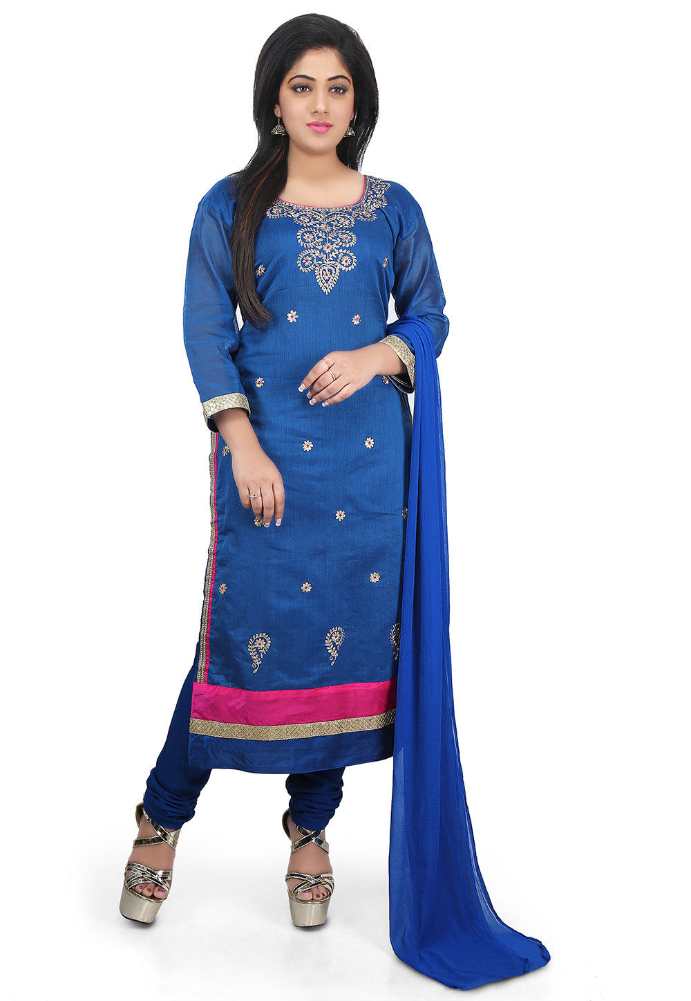 Embroidered Chanderi Cotton Straight Suit in Blue
