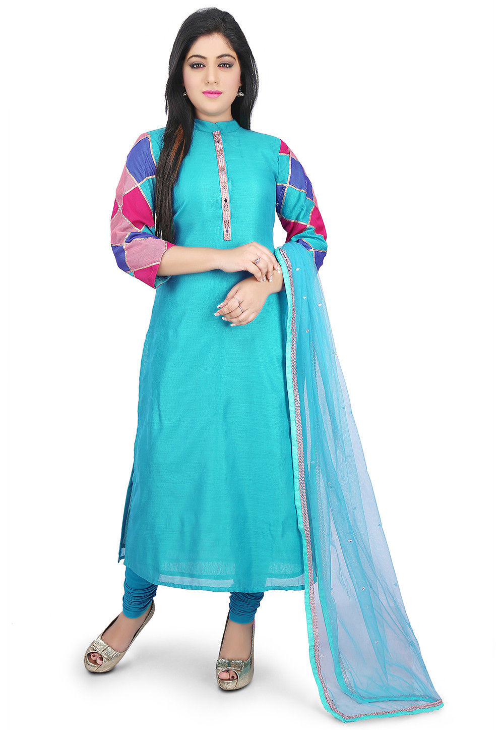 Printed Sleeve Chanderi Cotton Straight Suit in Blue