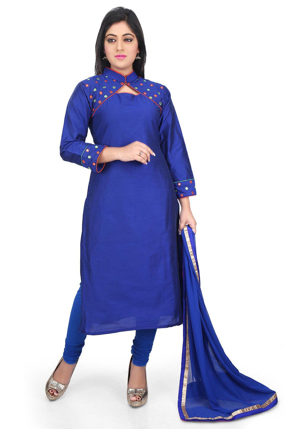 Plain Cotton Silk Straight Suit in Royal Blue