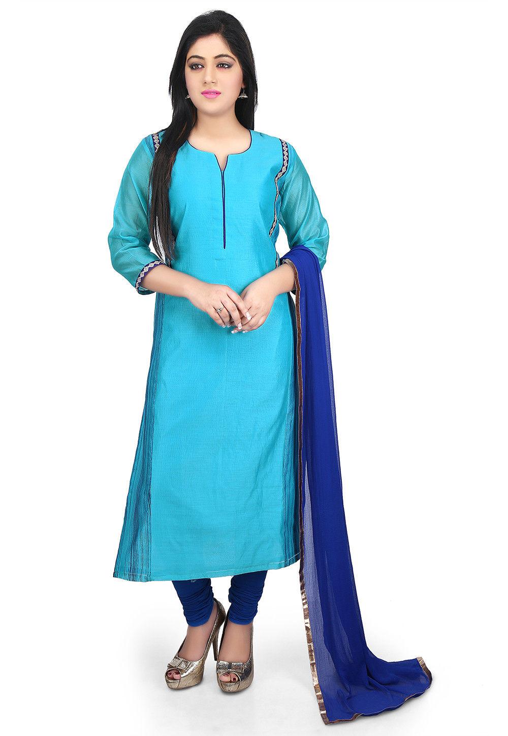 Plain Chanderi Cotton Straight Suit in Turquoise