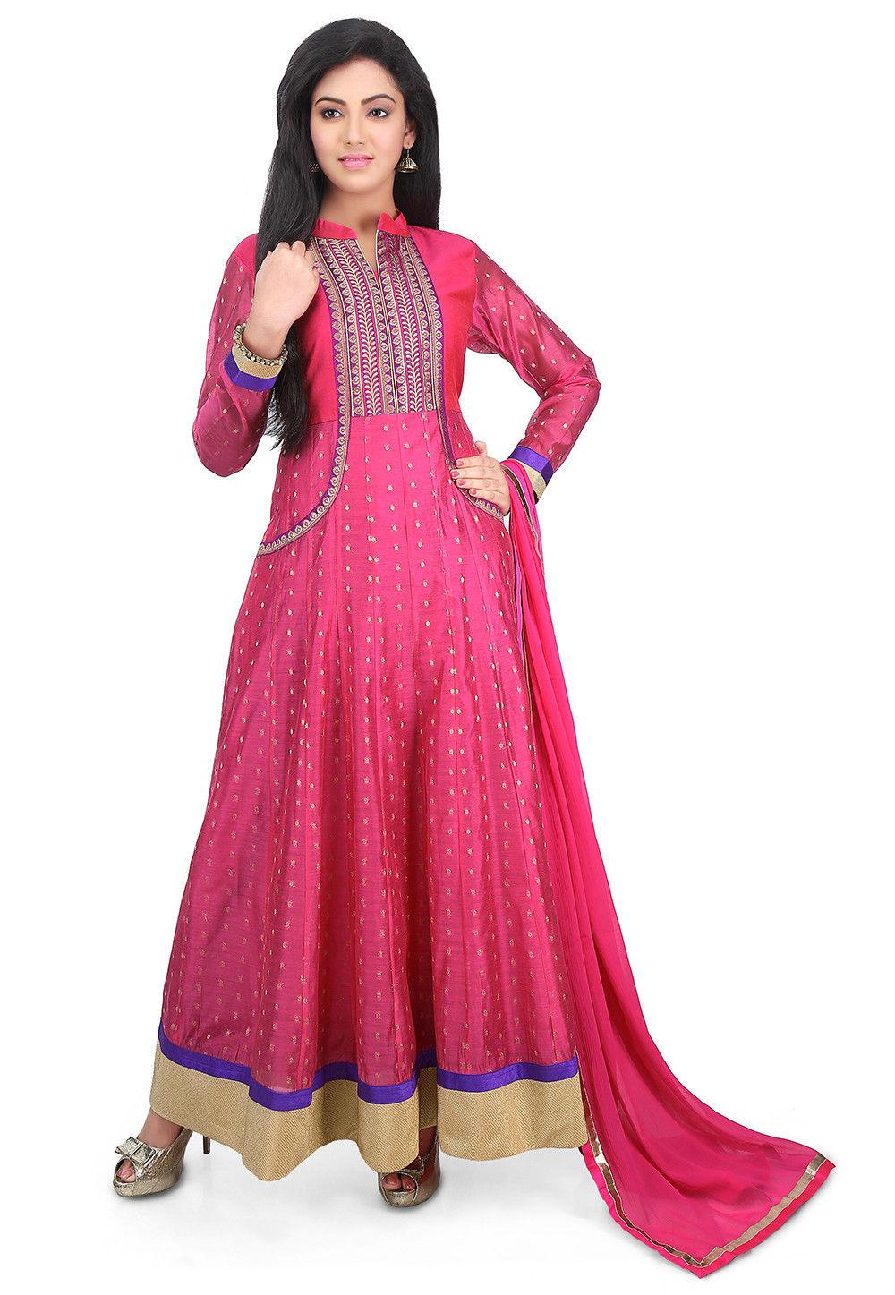 Woven Art Chanderi Silk Jacquard Abaya Style Suit in Fuchsia