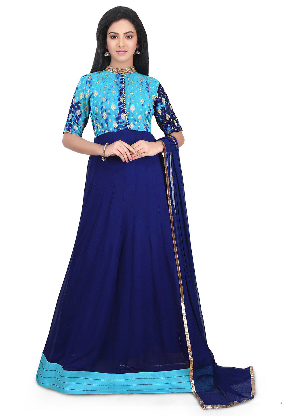 Woven Georgette and Art Silk Abaya Style Suit in Dark Blue