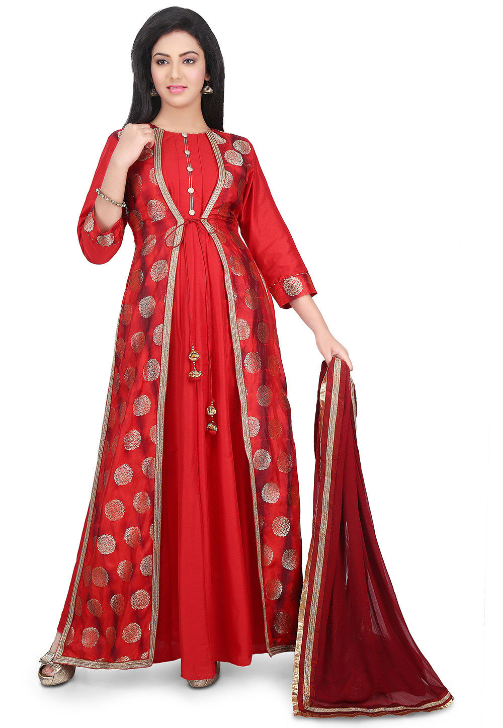 Woven Cotton Silk Abaya Style Suit in Red