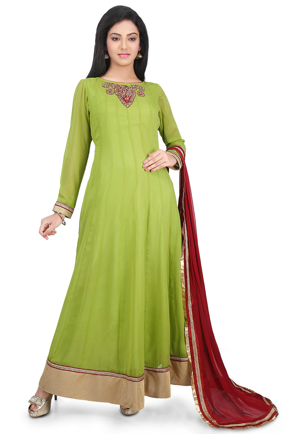 Plain Georgette Abaya Style Suit in Light Green