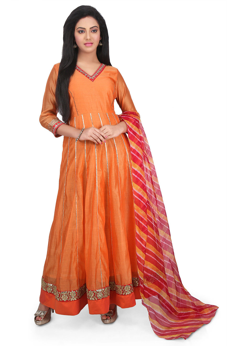 Plain Chanderi Cotton Abaya Style Suit in Orange