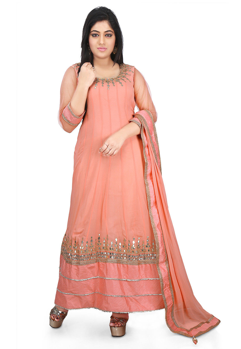 Embroidered Georgette Abaya Style Suit in Peach