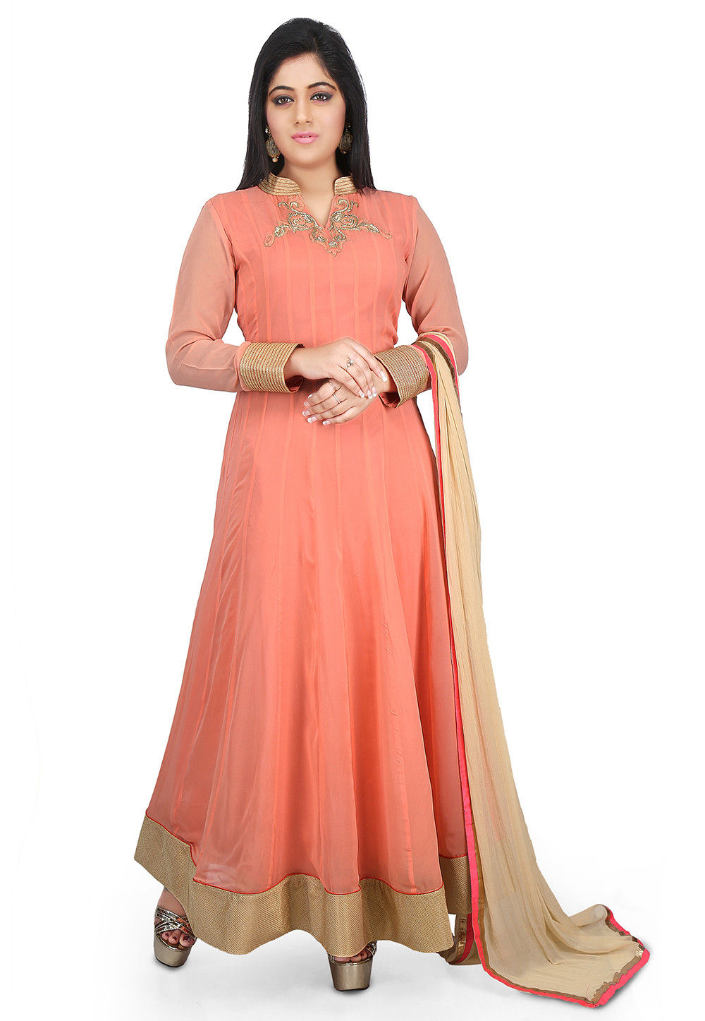 Plain Georgette Abaya Style Suit in Peach