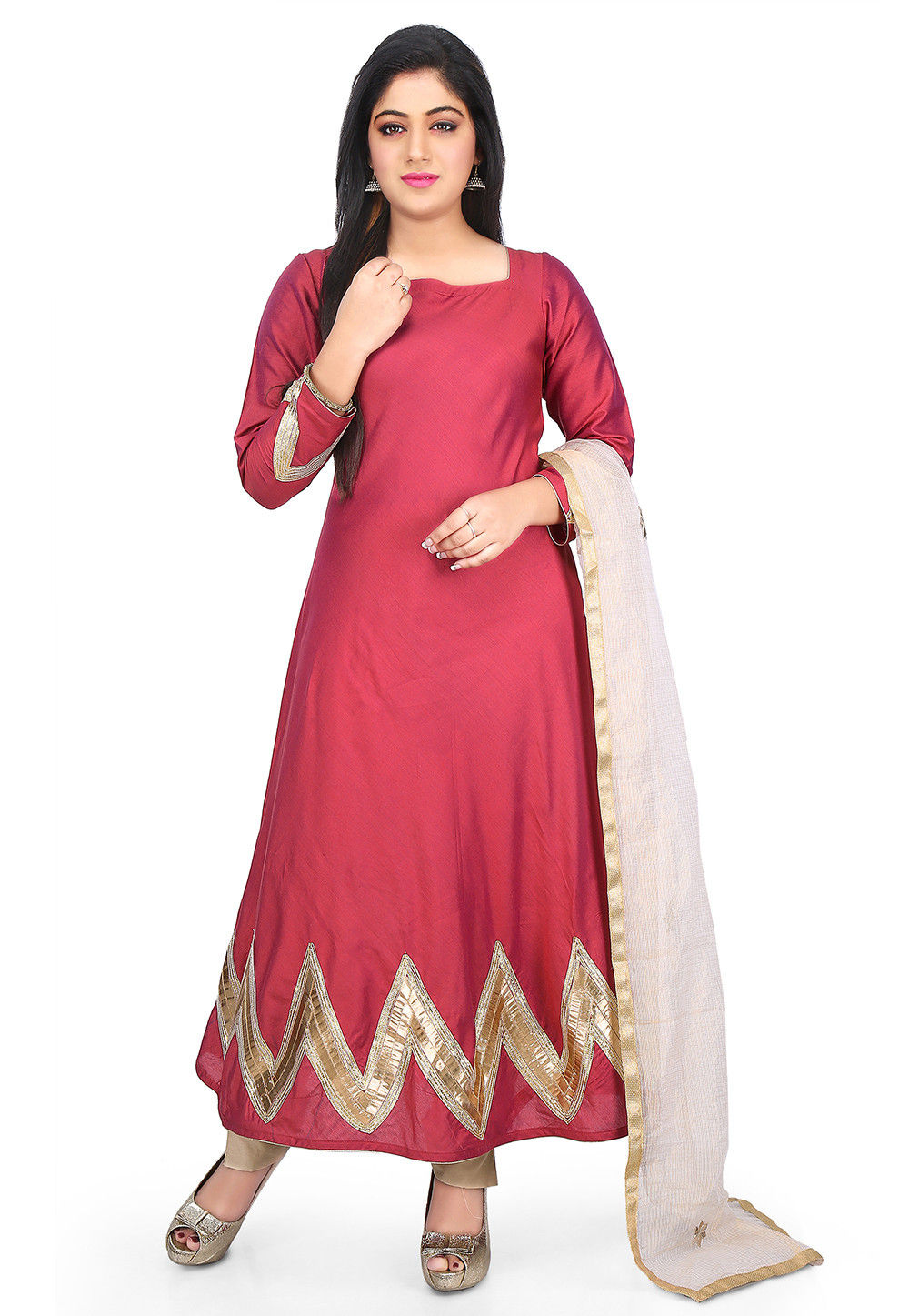 Plain Cotton Silk Flared Suit in Coral