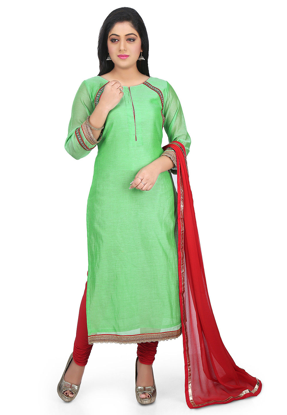 Plain Chanderi Cotton Straight Suit in Light Green