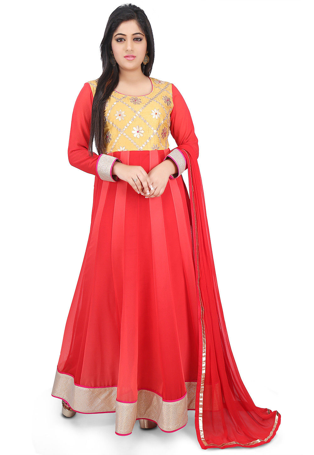 Embroidered Georgette Abaya Style Suit in Red Ombre and Beige