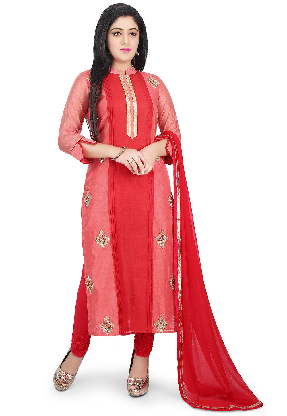 Embroidered Chanderi Cotton Straight Suit in Coral and Red