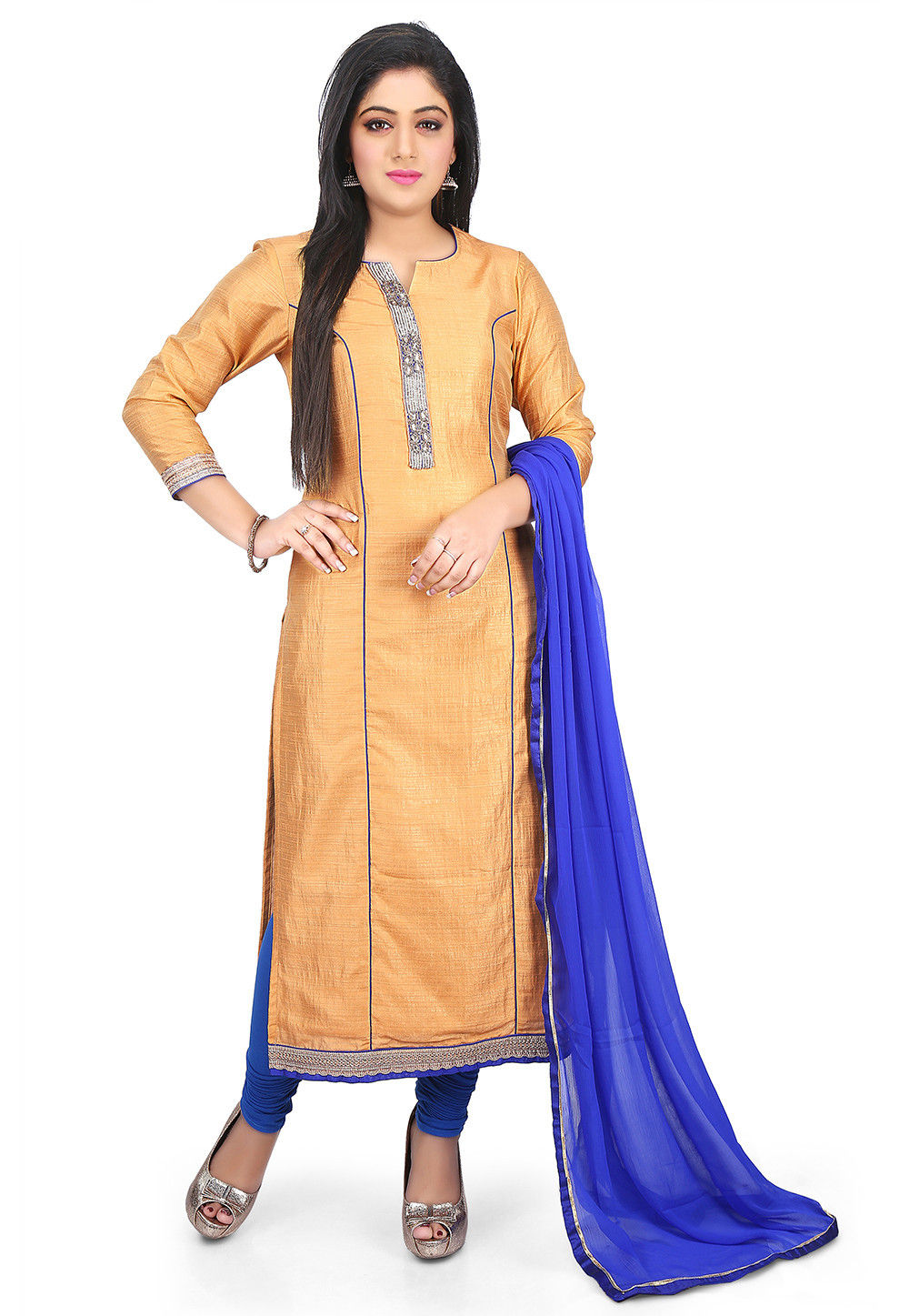 Plain Art Dupion Silk Straight Suit in Beige