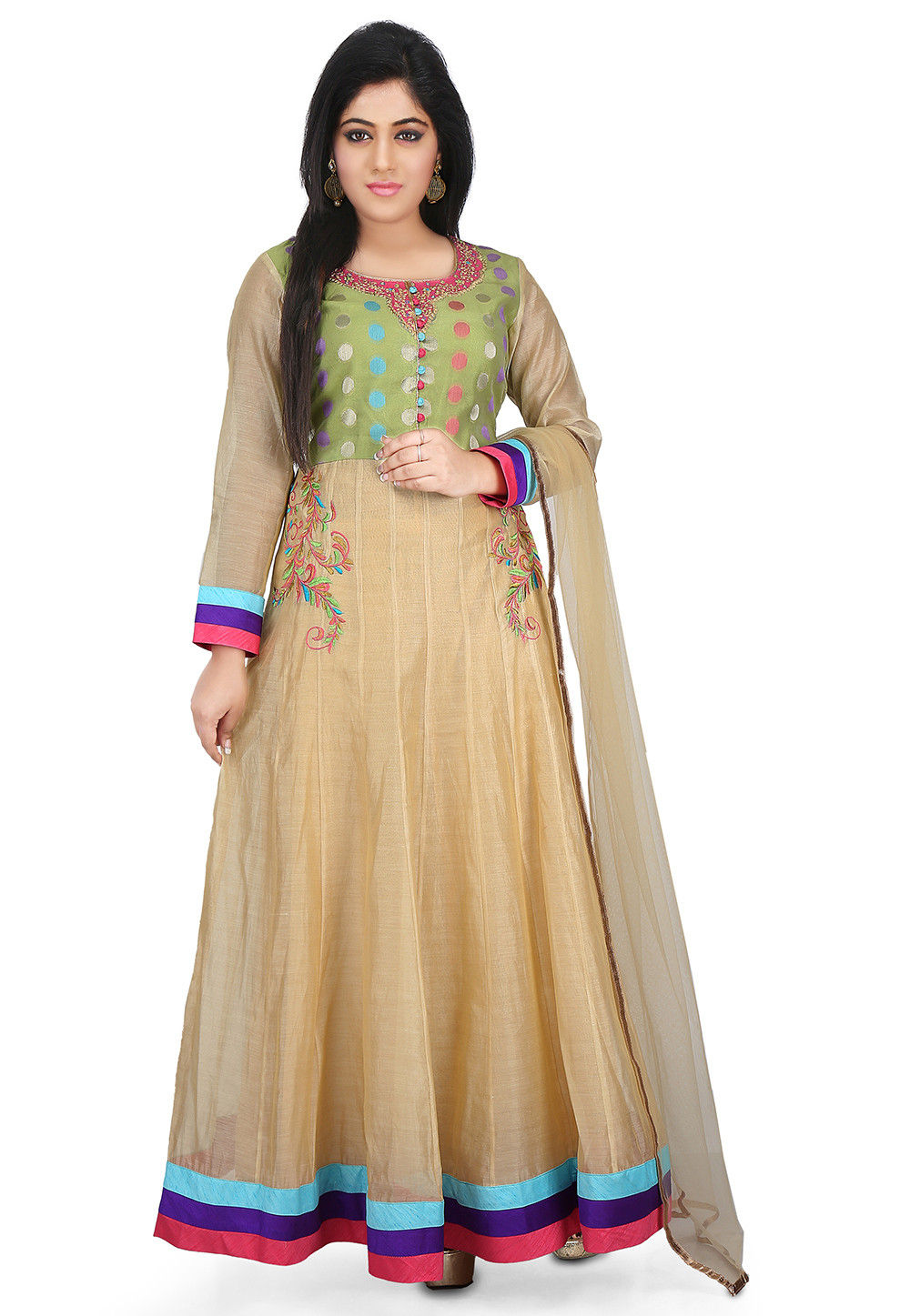 Embroidered Chanderi Cotton Abaya Style Suit in Beige and Olive Green