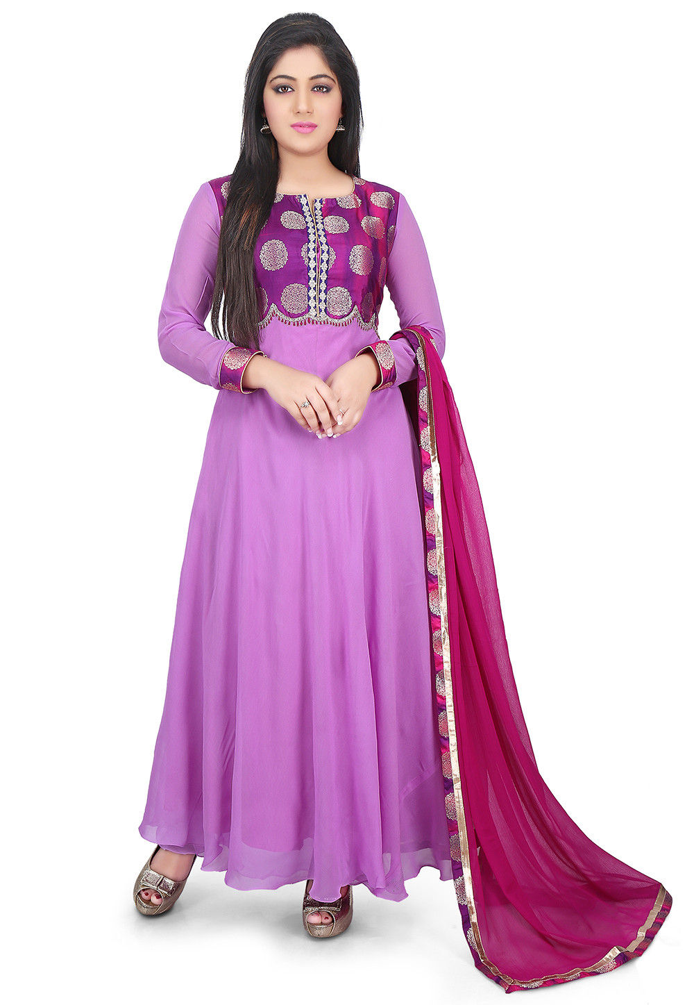 Woven Yoke Georgette Abaya Style Suit in Purple