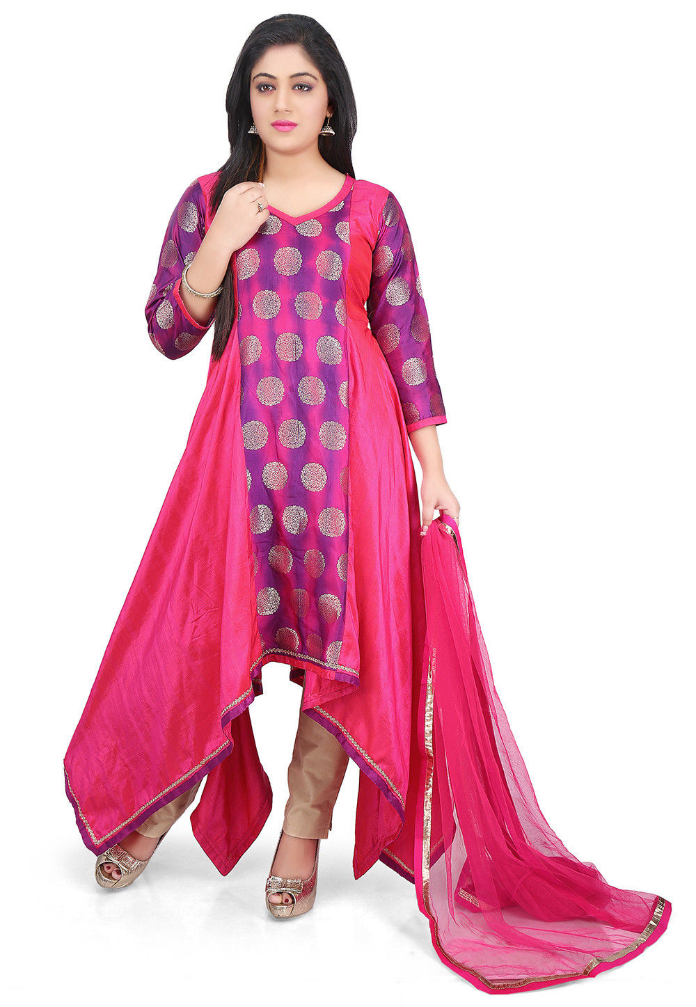 Woven Art Silk Asymmetric Suit in Fuchsia and Purple
