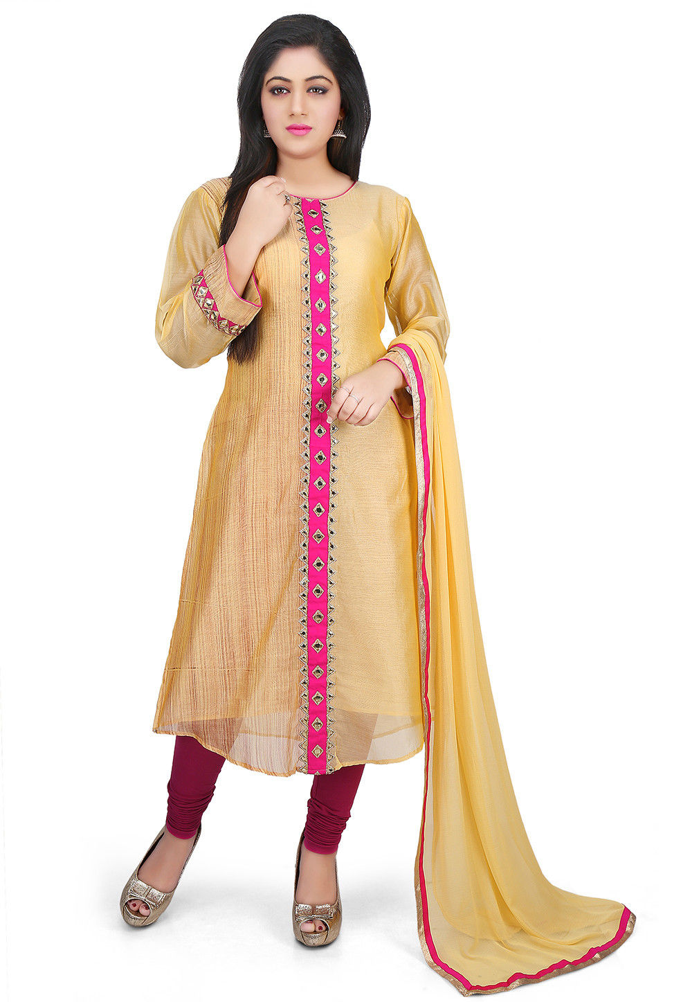 Contrast Placket Chanderi Cotton Straight Suit in Yellow