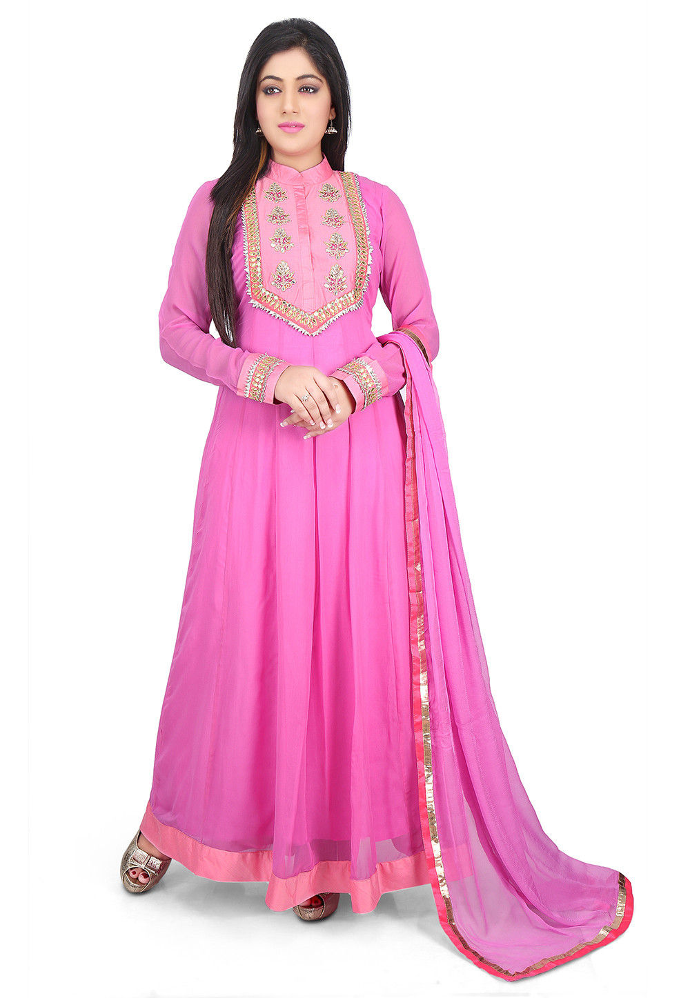 Hand Embroidered Georgette Abaya Style Suit in Pink