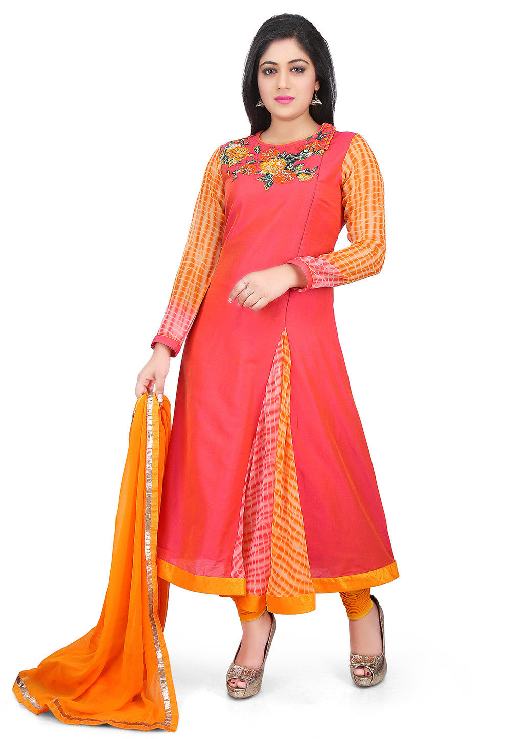 Embroidered Neckline Cotton Silk A Line Suit in Coral Pink