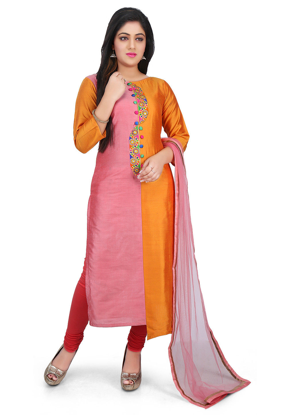 Embroidered Placket Cotton Silk Straight Suit in Pink