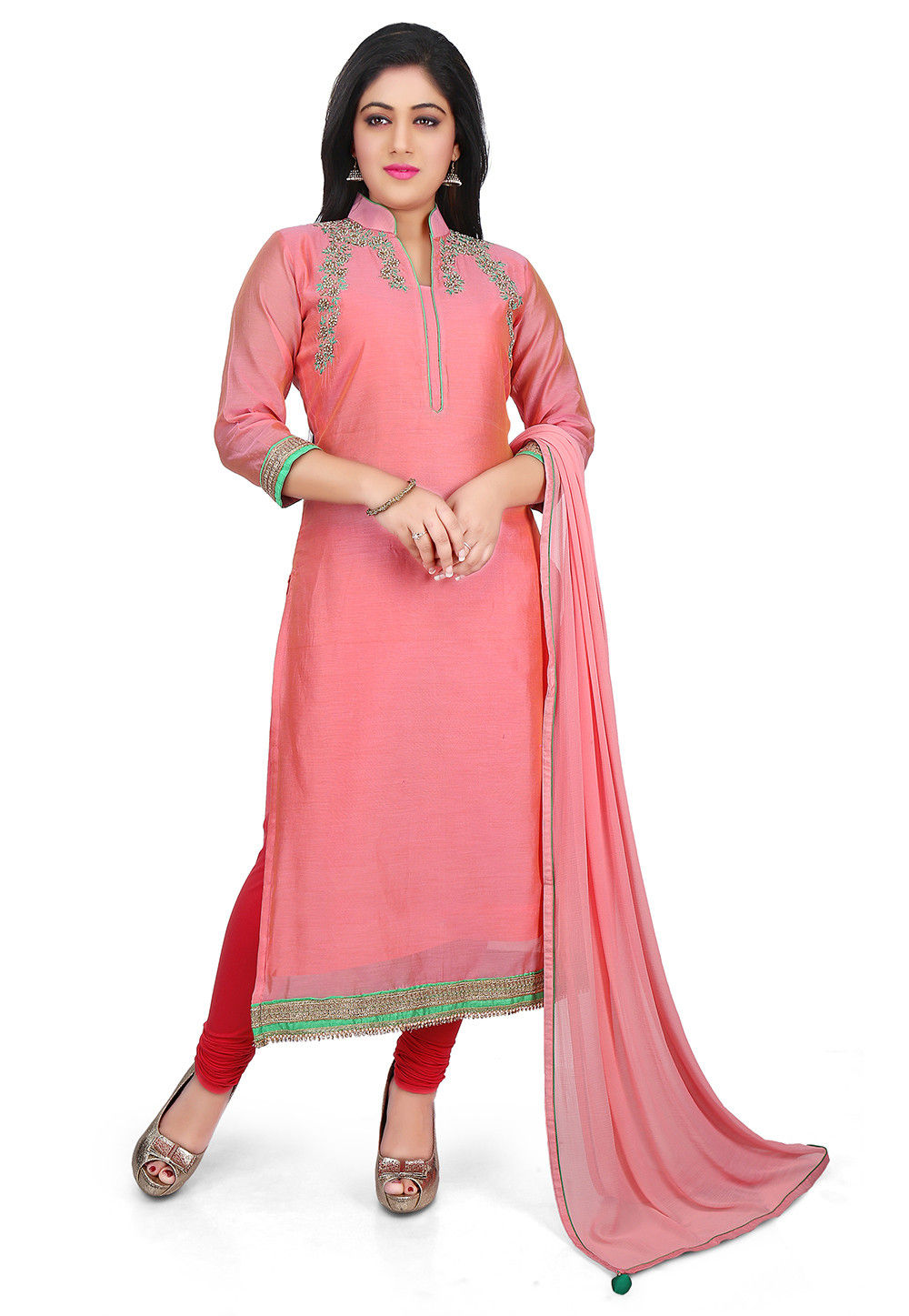 Hand Embroidered Neckline Chanderi Cotton Straight Suit in Peach
