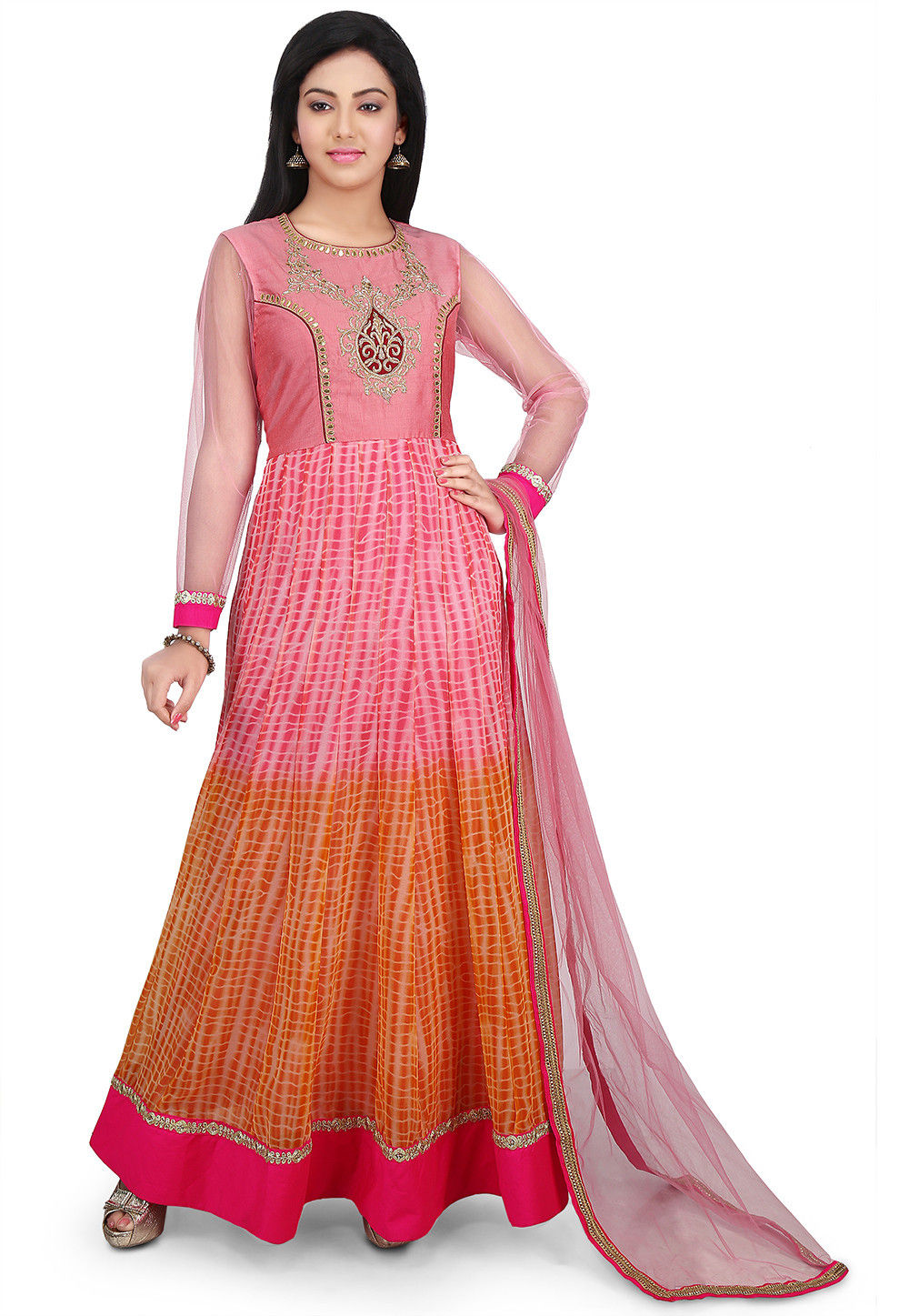 Hand Embroidered Yoke Georgette Abaya Style Suit in Peach