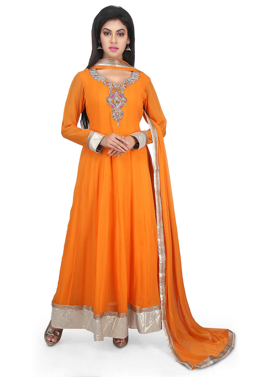Hand Embroidered Neckline Georgette Abaya Style Suit in Orange