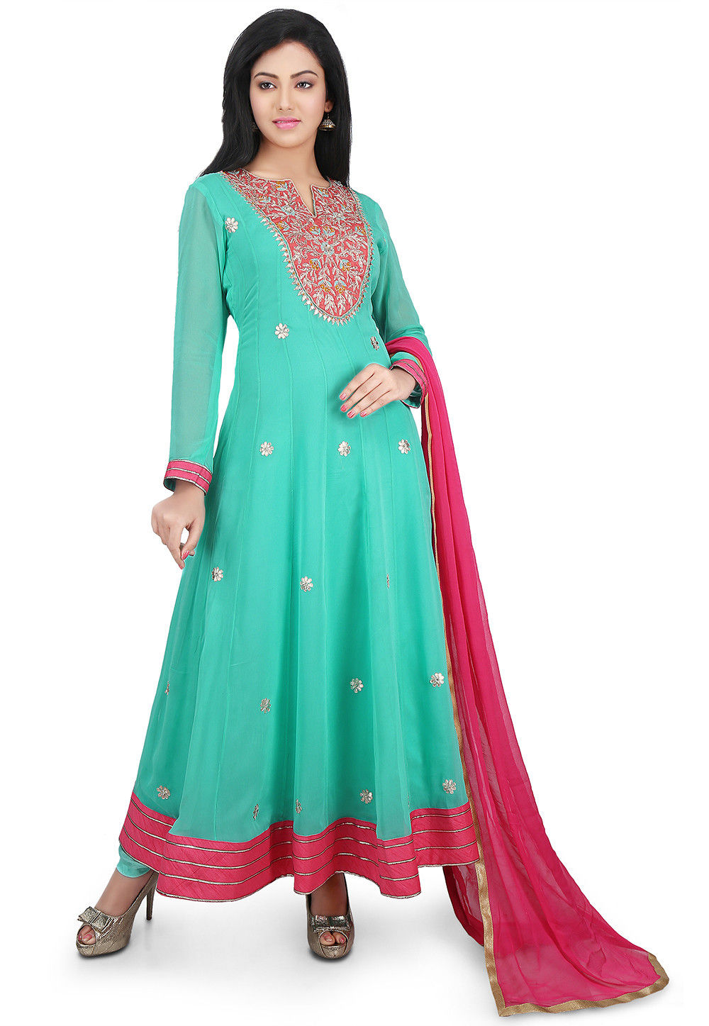 Hand Embroidered Georgette Abaya Style Suit in Sea Green
