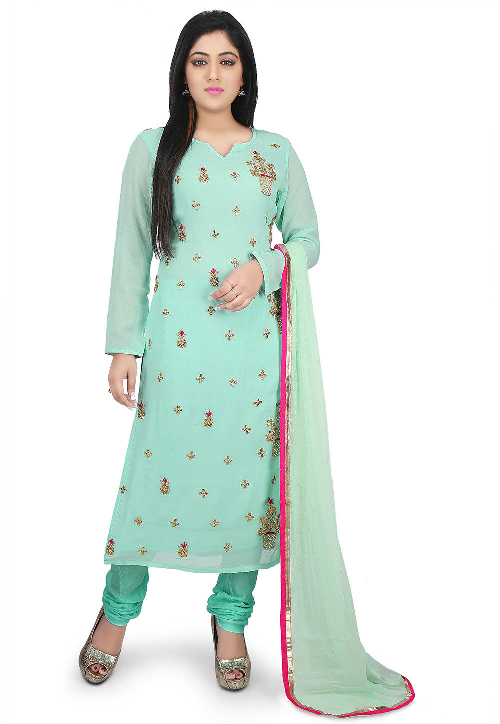 Hand Embroidered Georgette Straight Suit in Pastel Green