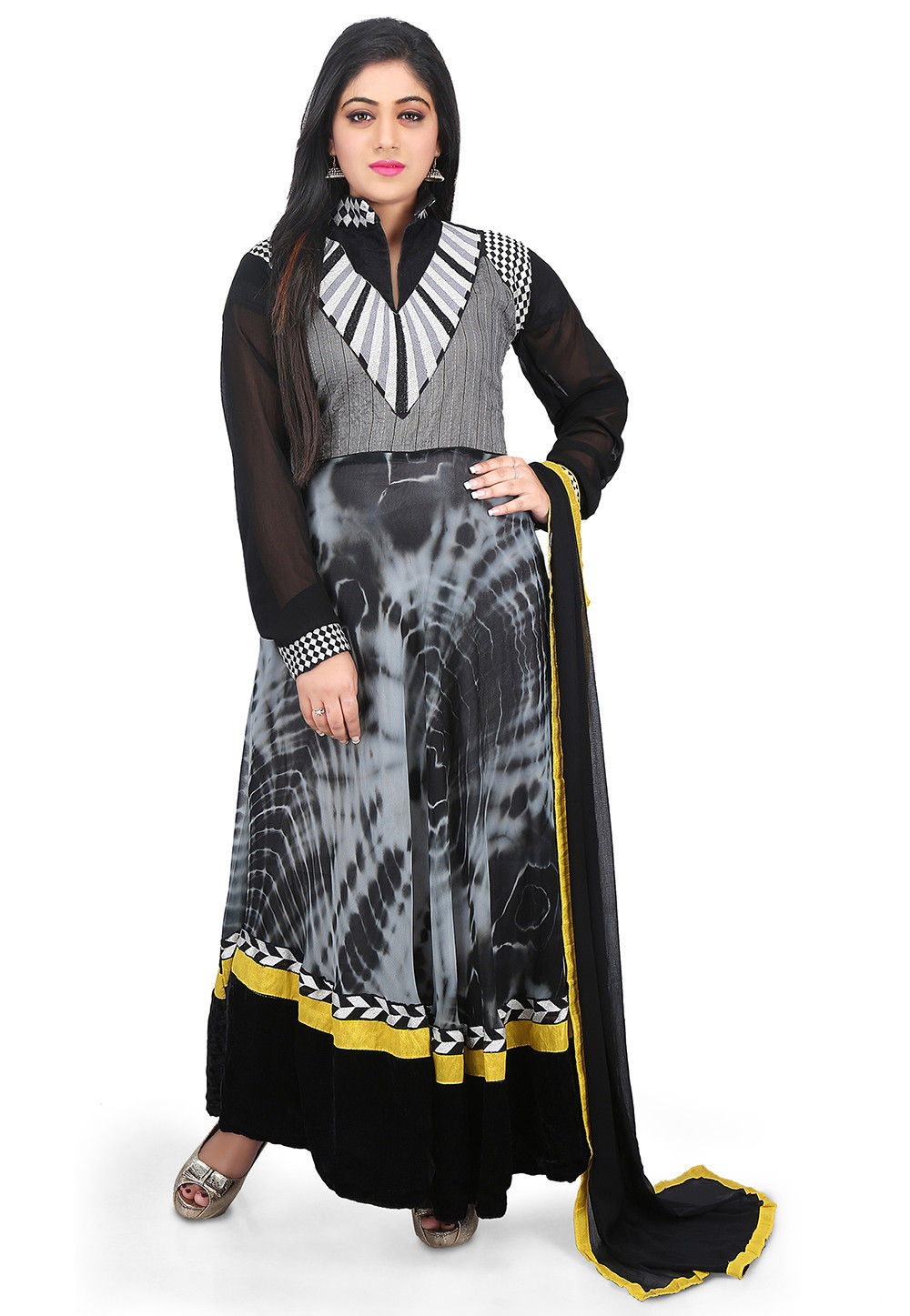 Tie and Dye Georgette Anarkali Suit in Grey and Black
