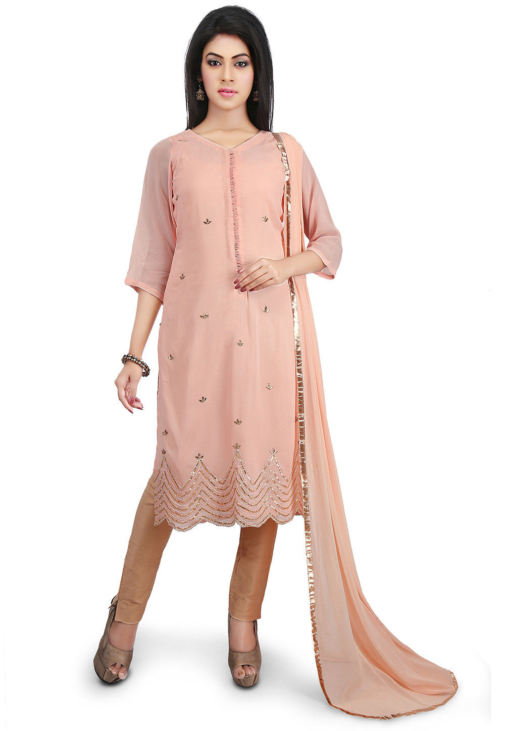 Embroidered Georgette Pakistani Suit in Peach