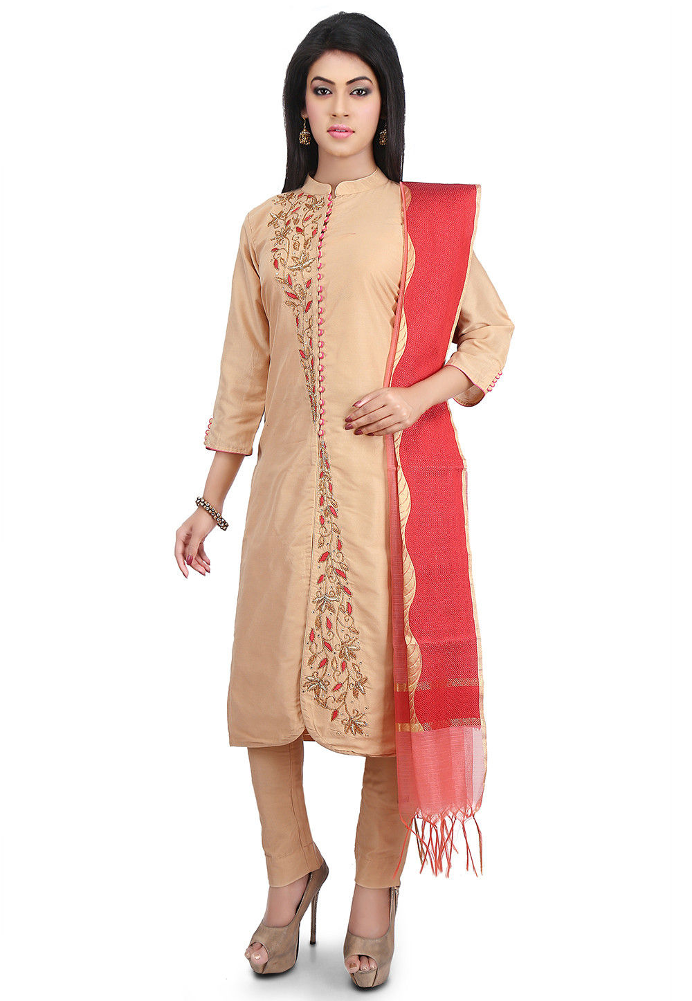 Hand Embroidered Cotton Silk Straight Suit in Beige
