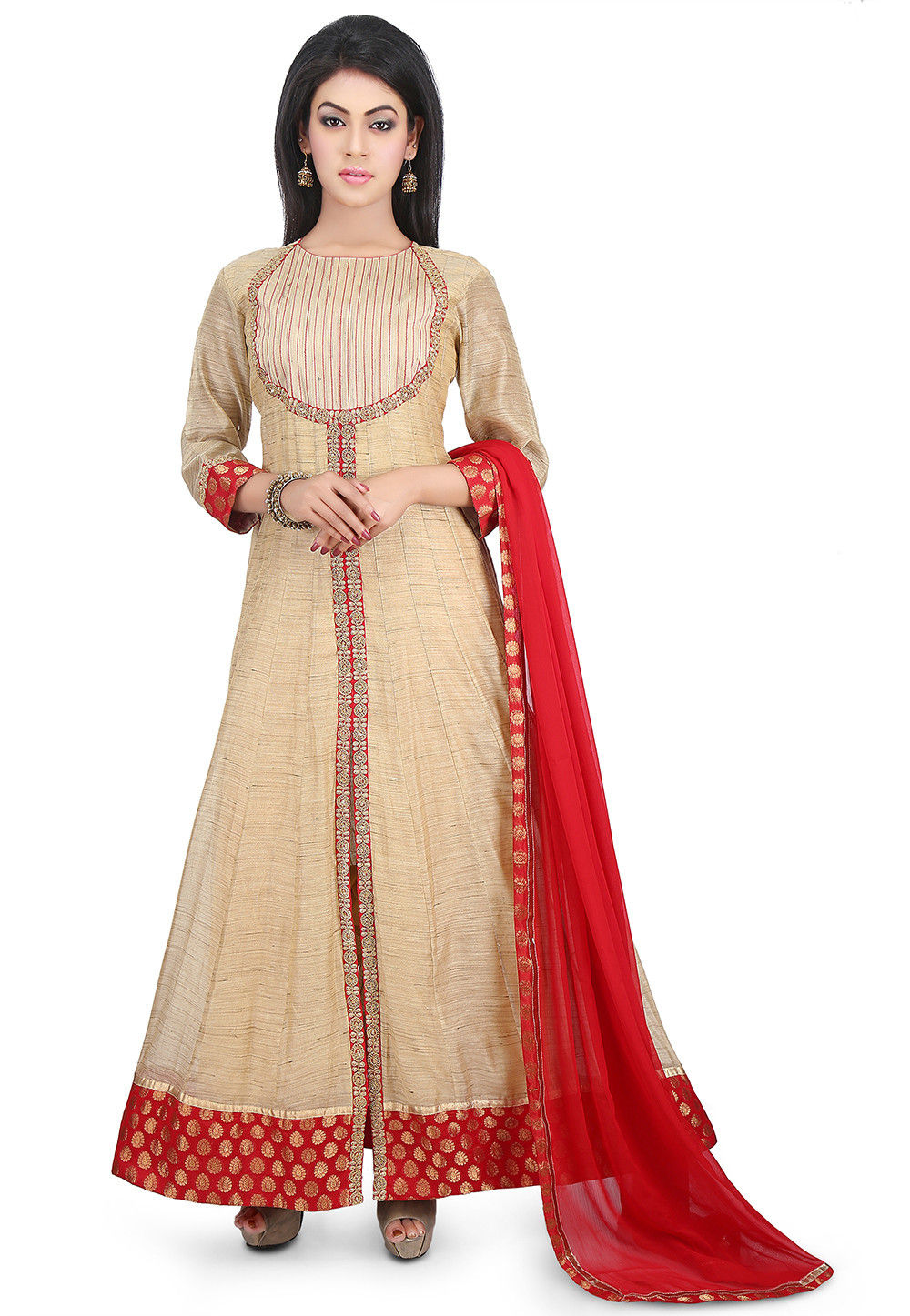 Plain Chanderi Silk Abaya Style Suit in Beige