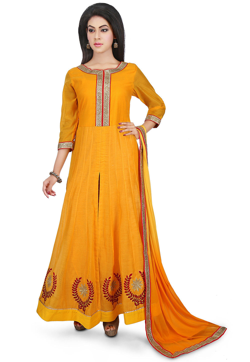 Embroidered Chanderi Cotton Abaya Style Suit in Mustard