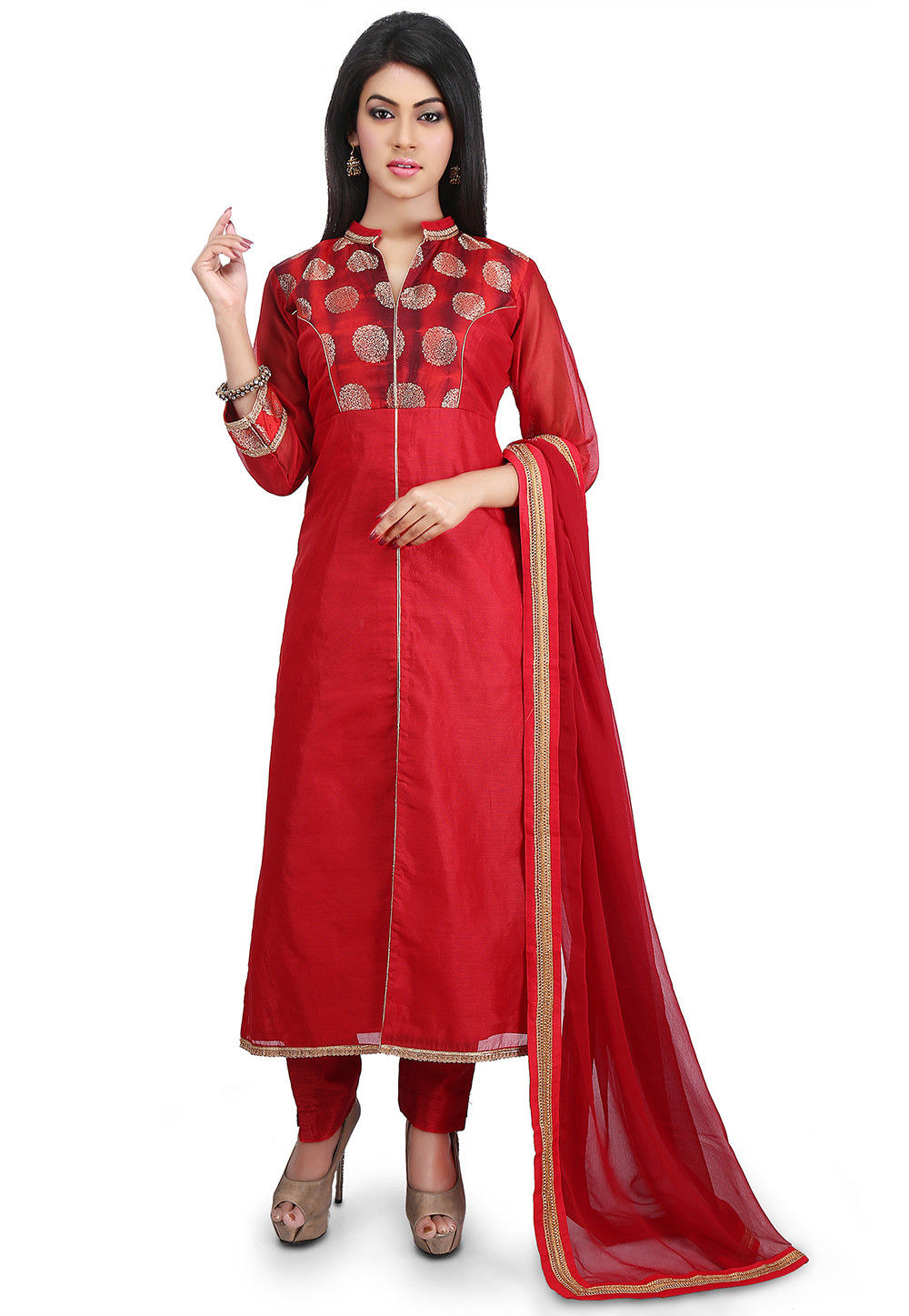 Plain Chanderi Cotton Straight Suit in Red