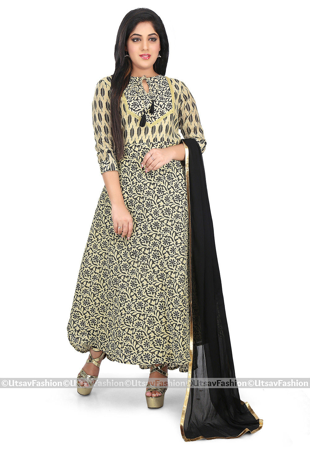 Printed Chanderi Cotton Abaya Style Suit in Beige