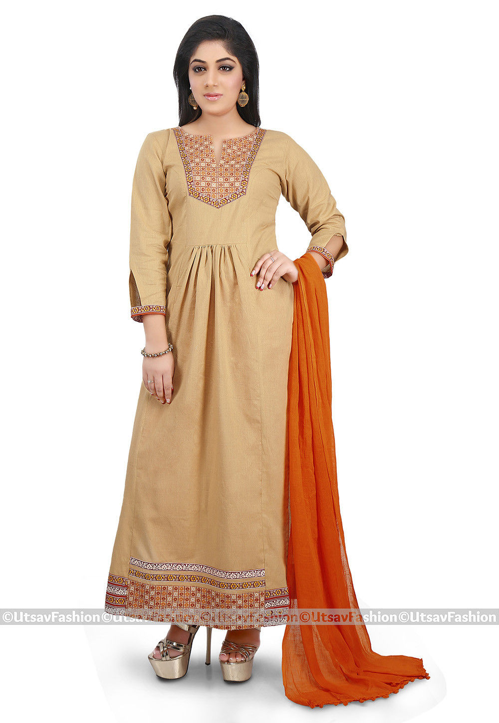 Plain Cotton Silk Abaya Style Suit in Beige