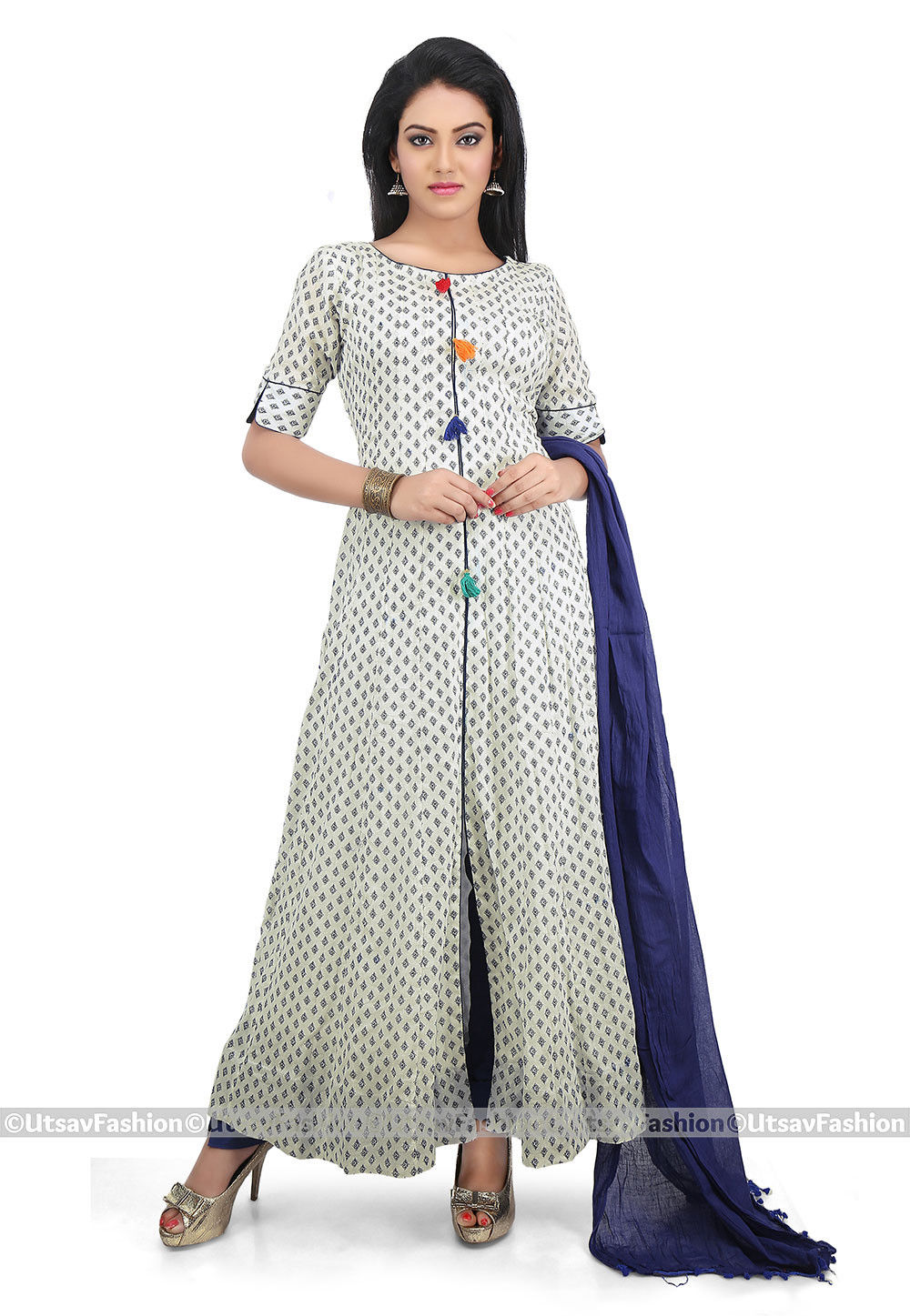 Printed Cotton Front Slit Abaya Style Suit in White