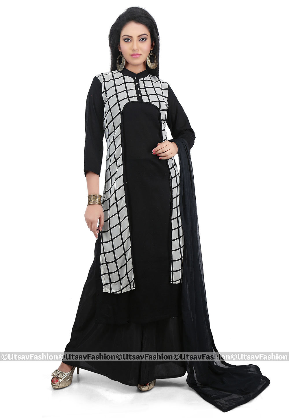 Printed Cotton Jacket Pakistani Suit in Black and White