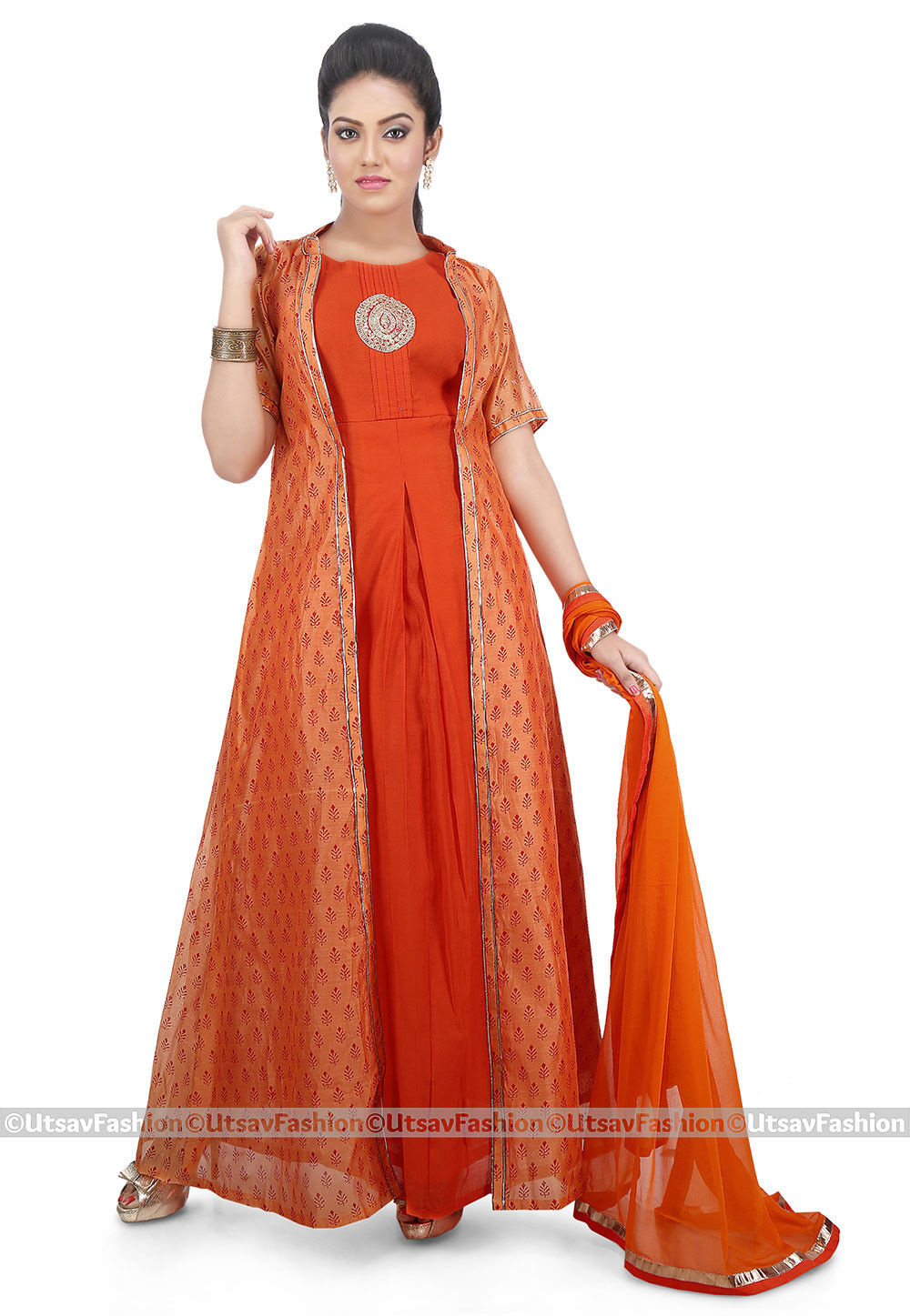Printed Cotton Jacket Abaya Style Suit in Orange
