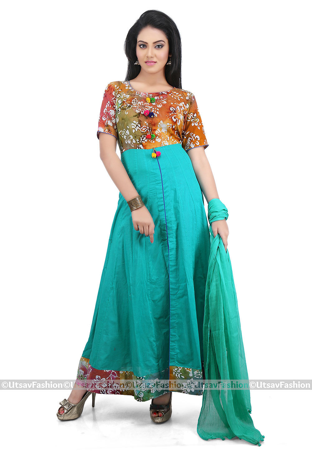 Front Slit Cotton Abaya Style Suit in Teal Blue